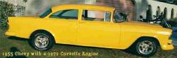 Yellow 1955 Chevy,  2-door with post